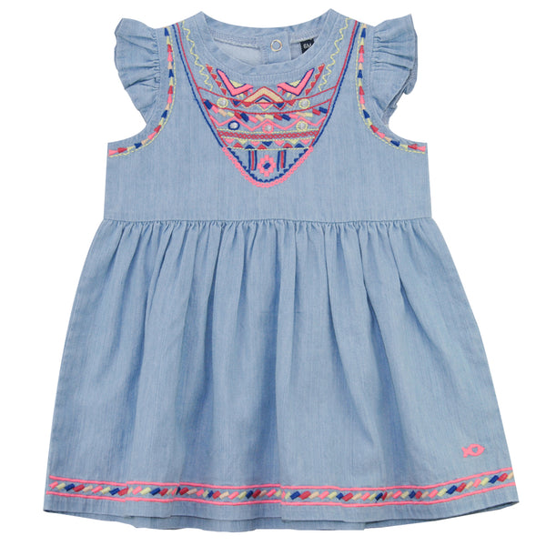 Weekend à la Mer Girls Chambray Cotton Summer Dress