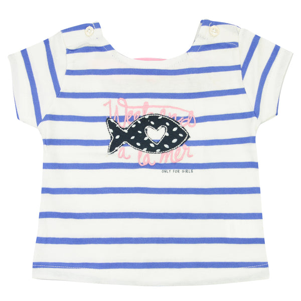 Weekend à la Mer Girls Blue Striped T-Shirt