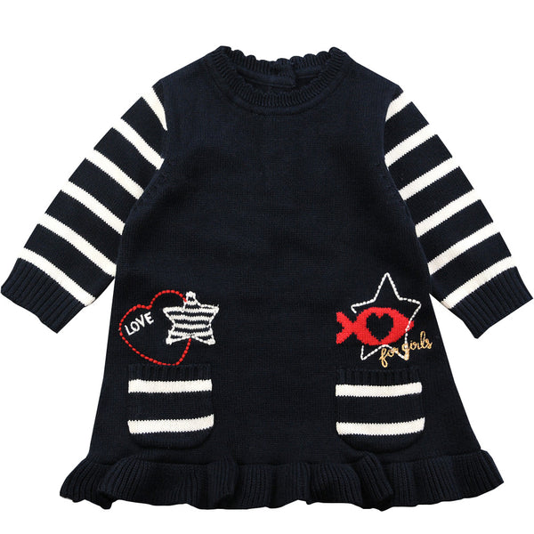 Weekend à la Mer Girls Navy Cotton Knit Dress
