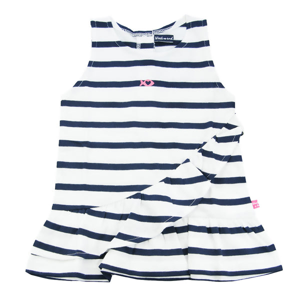 Weekend à la Mer Girls Navy & White Striped Ruffle Dress