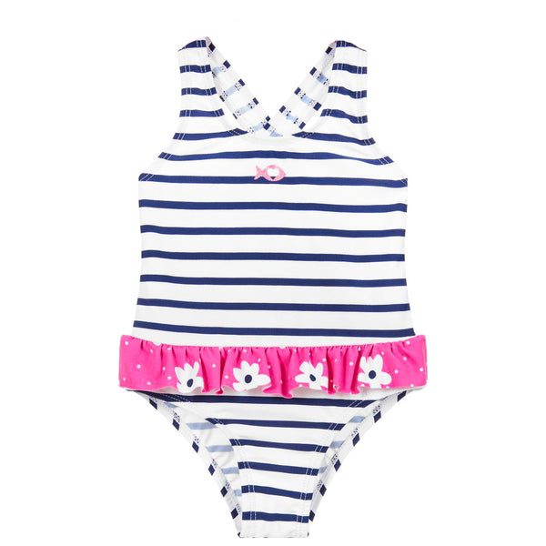 Weekend à la Mer Girls White & Navy Striped Swimsuit