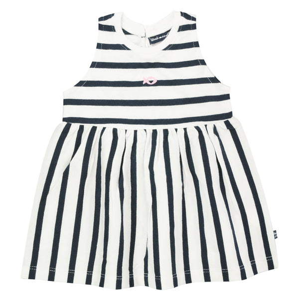 Weekend à la Mer Girls Navy Blue Striped Dress