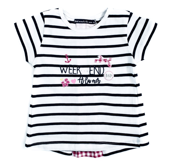 Weekend à la Mer Girls Navy Striped T-Shirt