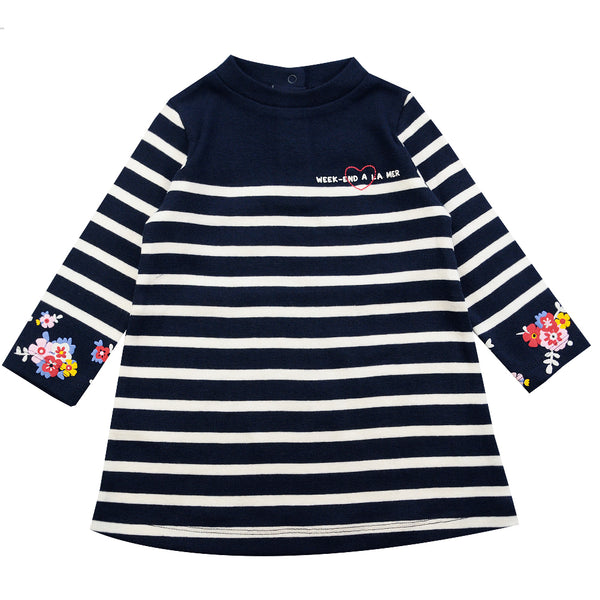 Weekend à la Mer Girls Navy & White Striped Cotton Dress