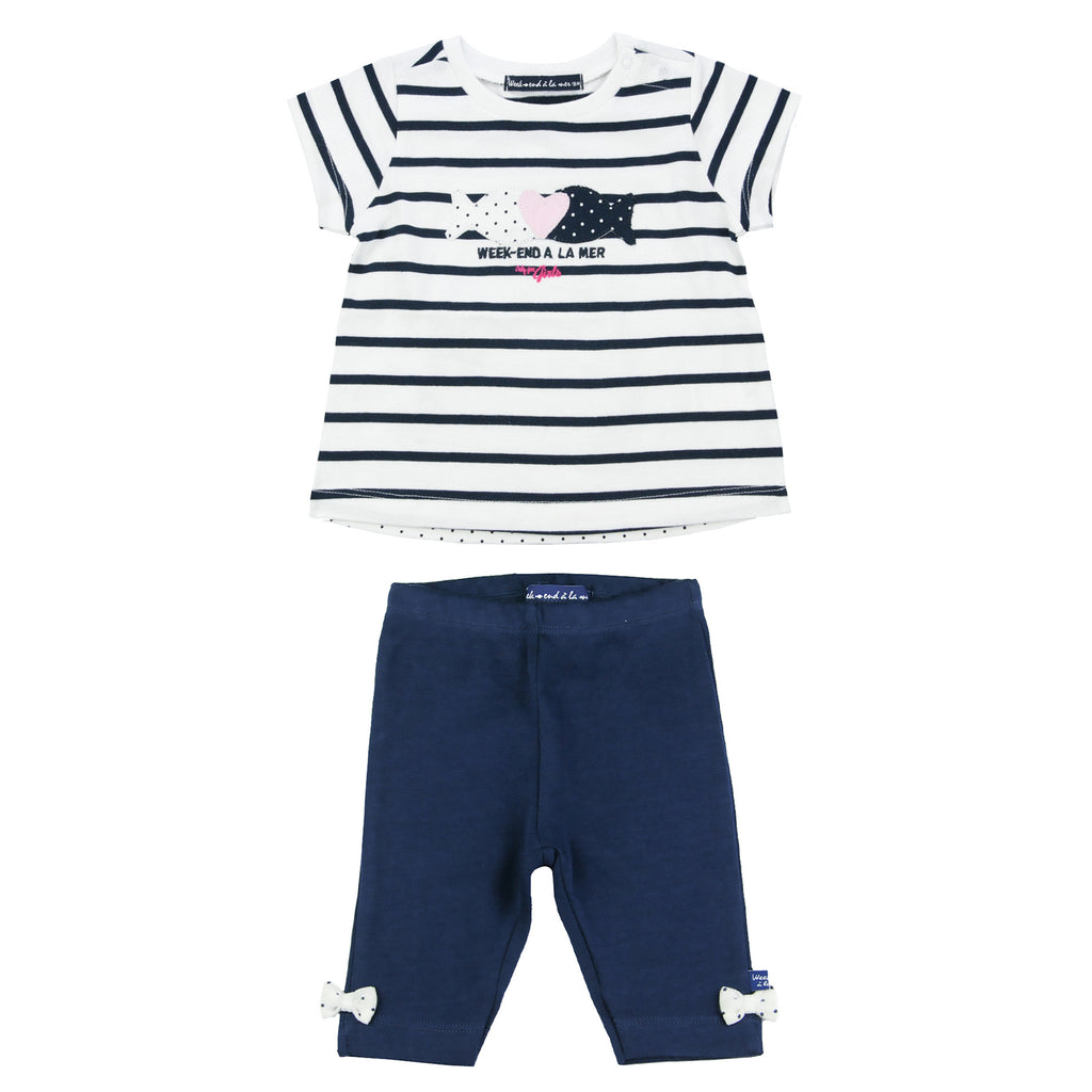 Weekend á la Mer Navy & White T-Shirt & Leggings Set