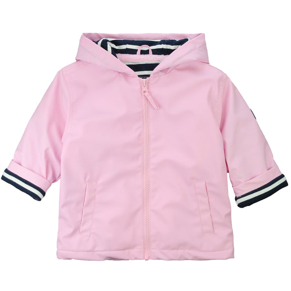 Weekend à la Mer Girls Pale Pink Fleece Lined Raincoat