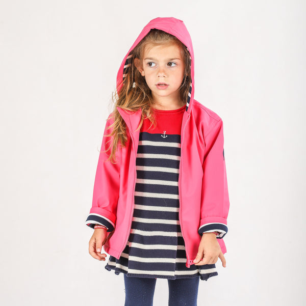 Weekend à la Mer Pink Hooded Raincoat