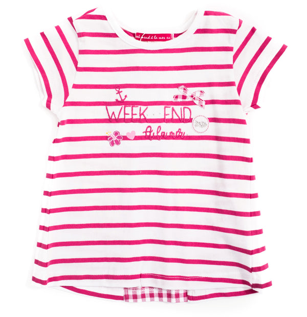 Weekend à la Mer Girls Pink Striped T-Shirt