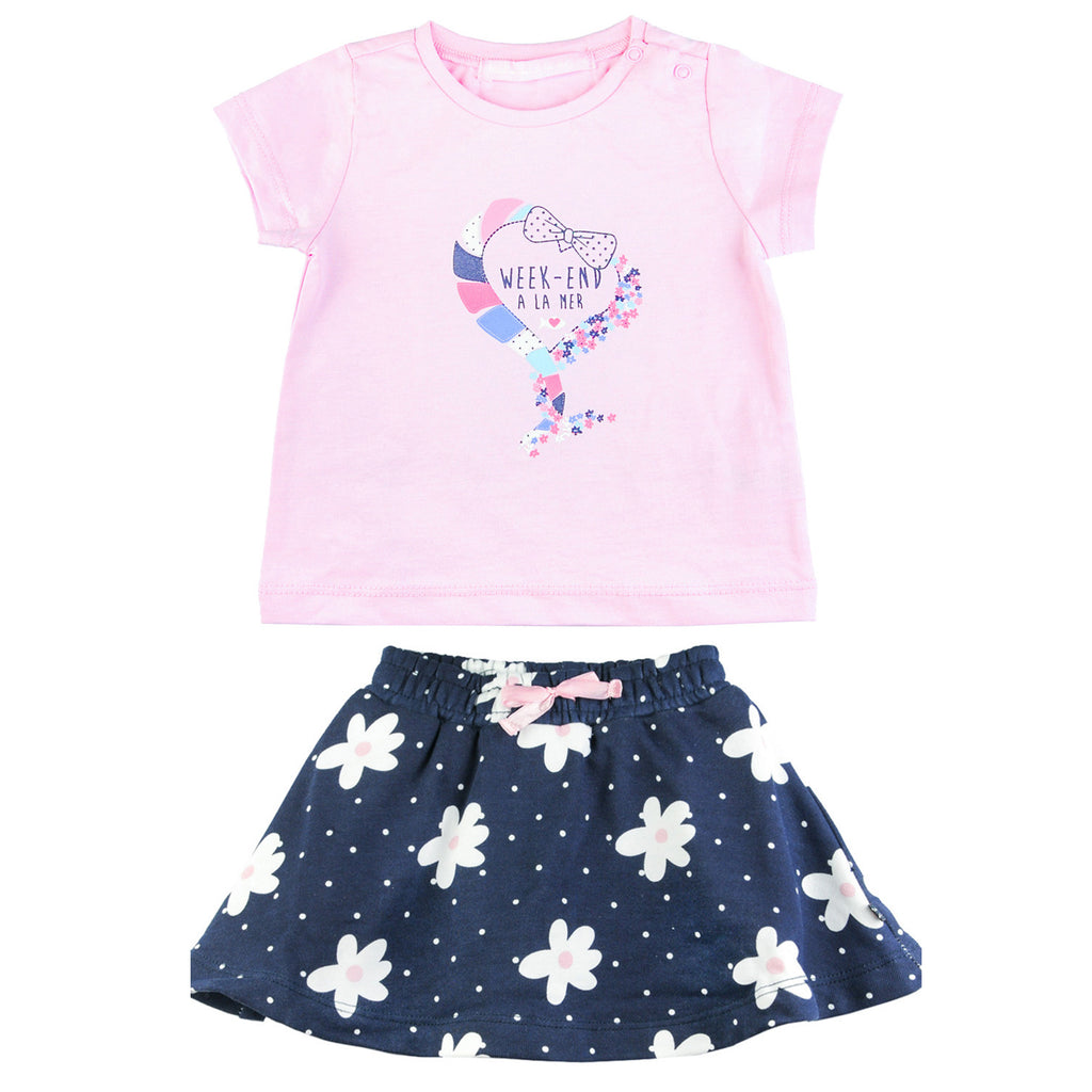 Weekend á la Mer Girls Pink T-Shirt & Skorts Set