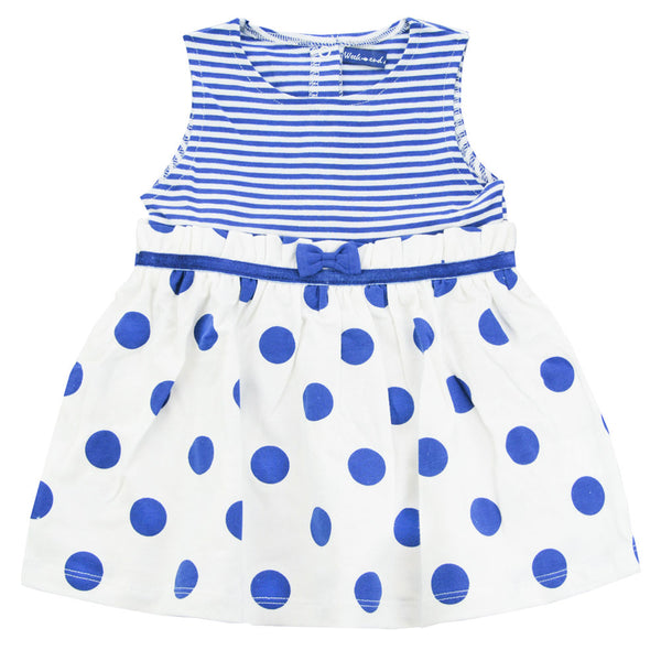 Weekend à la Mer Girls White & Blue Polka Dot Dress