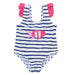 Weekend á la Mer White & Navy Striped Swimsuit