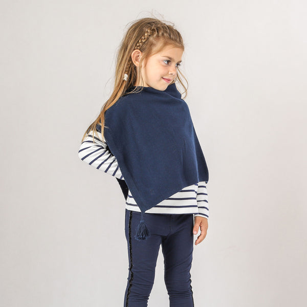 Weekend à la Mer Girls Lightweight Navy Poncho