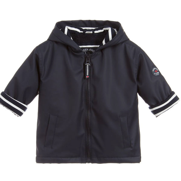 Weekend à la Mer Navy Fleece Lined Hooded Raincoat