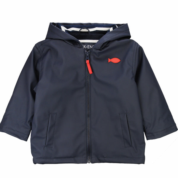 Weekend à la Mer Navy Fleece Lined Raincoat