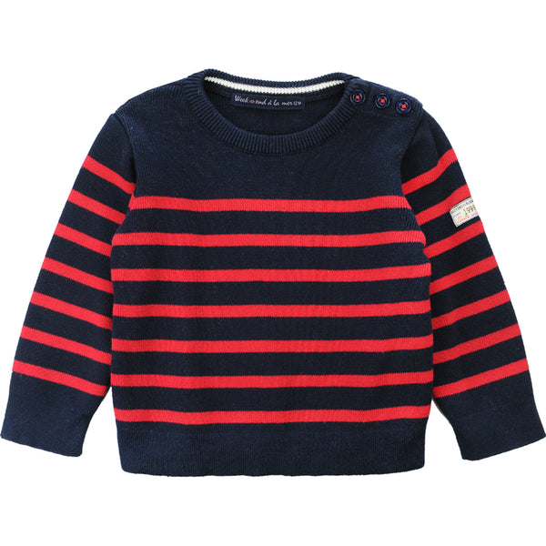 Weekend à la Mer Boys Navy & Red Cotton Sweater