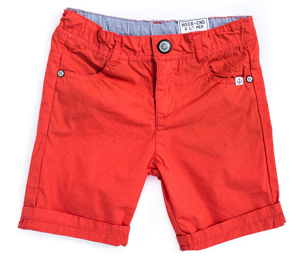 Weekend à la Mer Orange Cotton Shorts