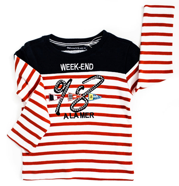 Weekend à la Mer Orange Stripe Long Sleeve Top