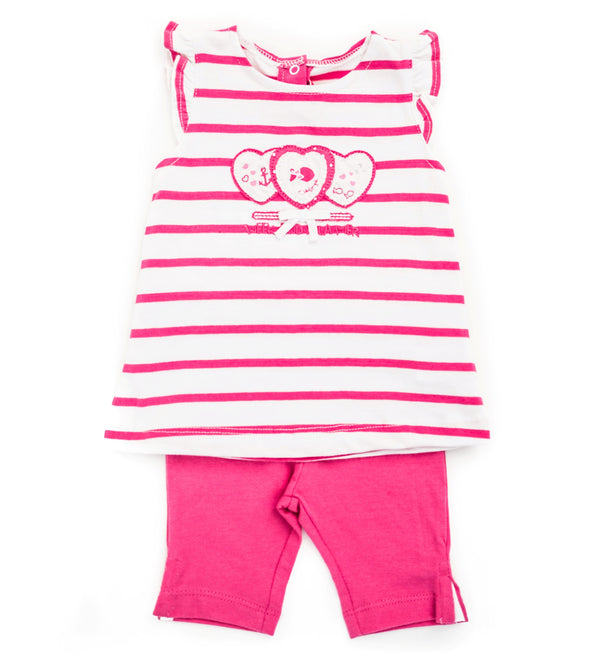 Weekend à la Mer Pink Stripe Dress Set