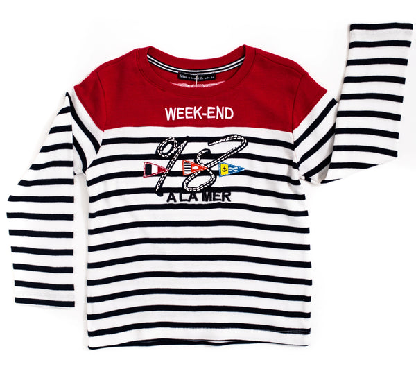 Weekend à la Mer Red & Stripe Long Sleeve Top