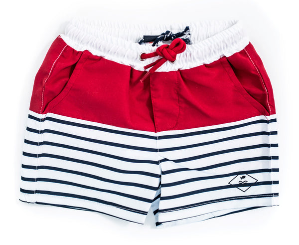 Weekend à la Mer Red & Stripe Swim Shorts
