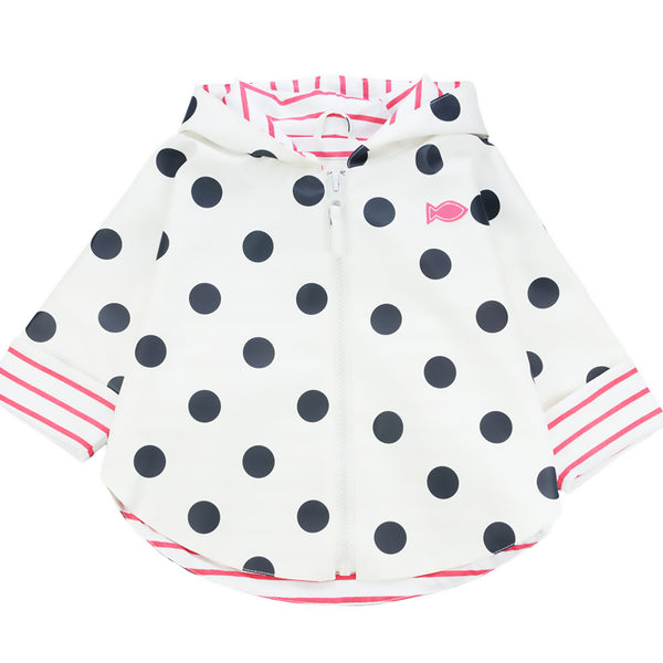 Weekend à la Mer Baby Girls White Polka Dot Hooded Rain Cape