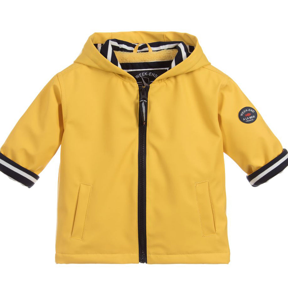 Weekend à la Mer Yellow Fleece Lined Hooded Raincoat