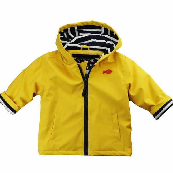 Weekend à la Mer Yellow Fleece Lined Raincoat