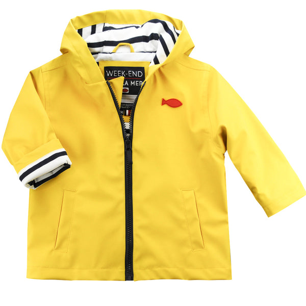 Weekend à la Mer Yellow Cotton Lined Raincoat