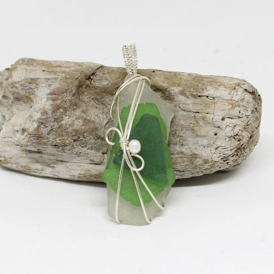 Authentic  Sea Glass Pendants - Green Colors