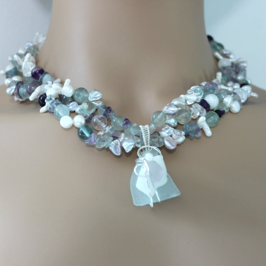 Triple strand fluorite, pearl and sea glass necklace