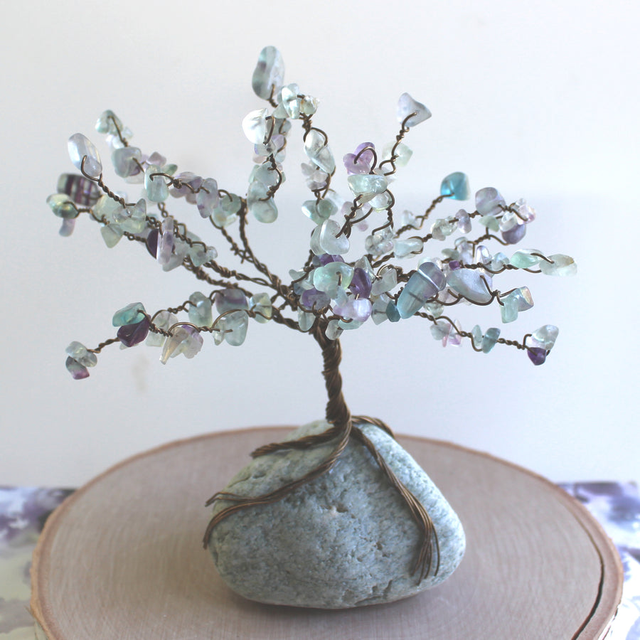 Rainbow Fluorite Gemstone Bonsai Tree of Harmonizing Energy