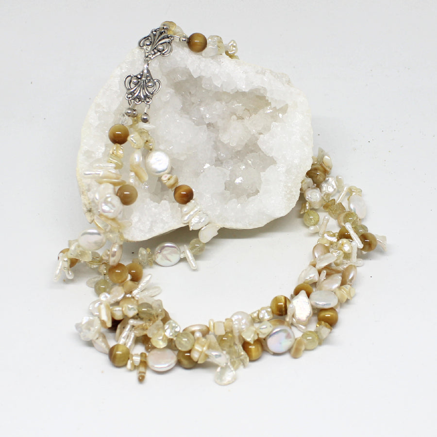 Triple Strand Pearl and Citrine Necklace