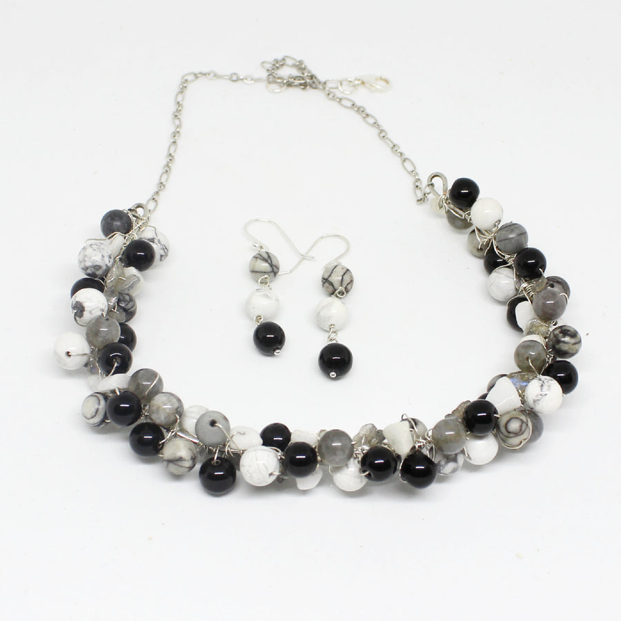 Black and White Multi Gemstone Necklace and Earrings