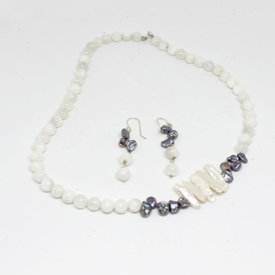 Maya Goddess Necklace of Moonstone and Pearls