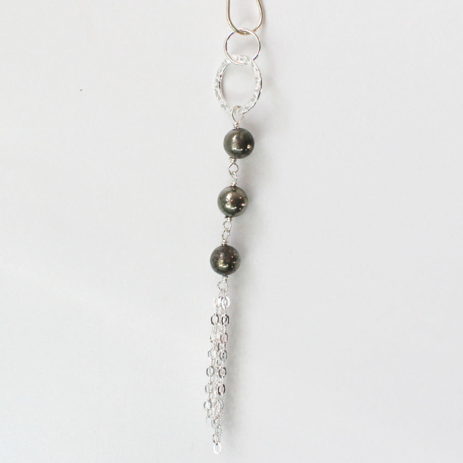 Pyrite Long Necklace with Tassel
