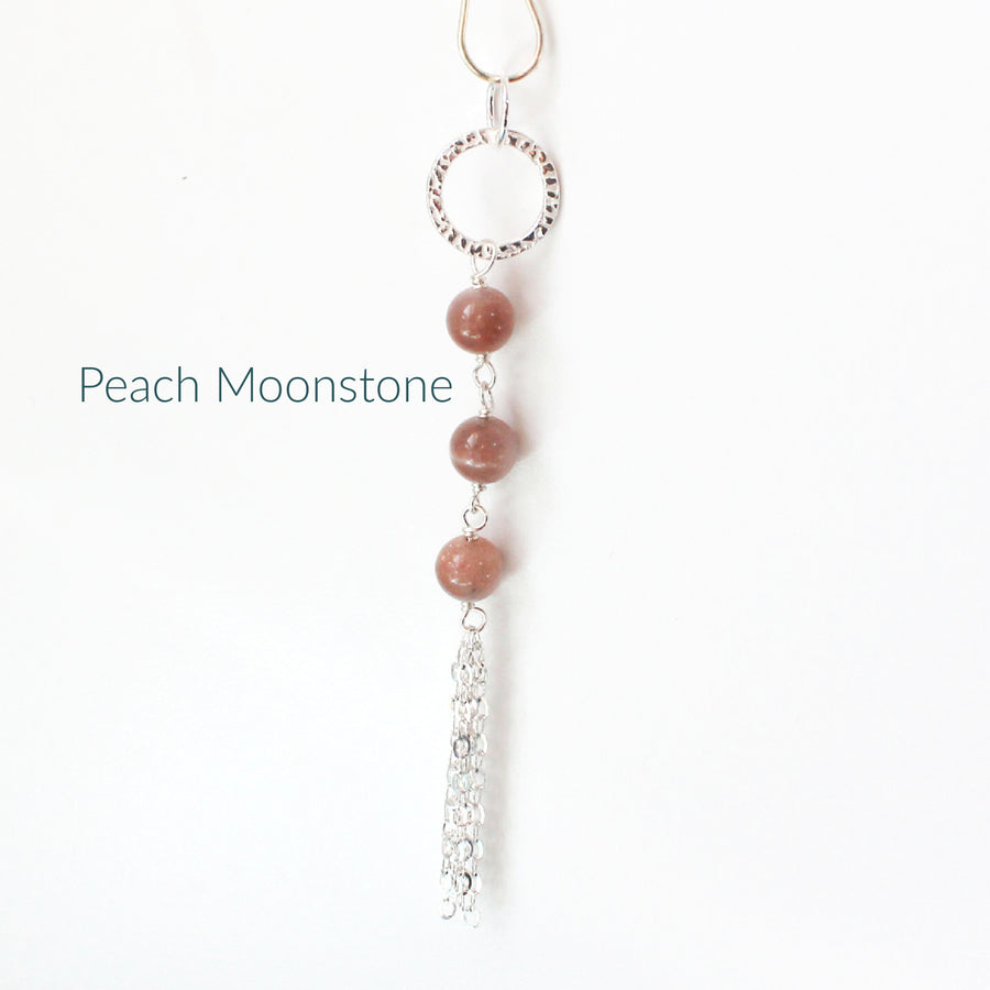 Peach Moonstone Long Necklace with Tassel