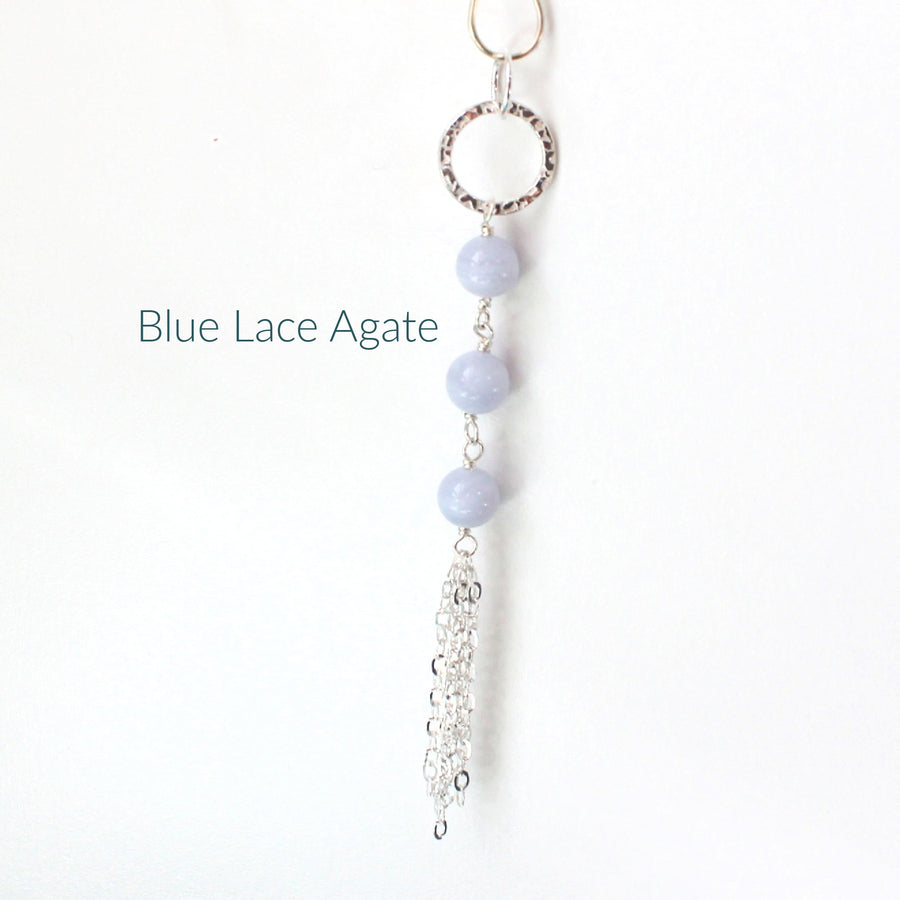 Blue Lace Agate Long Necklace with Tassel
