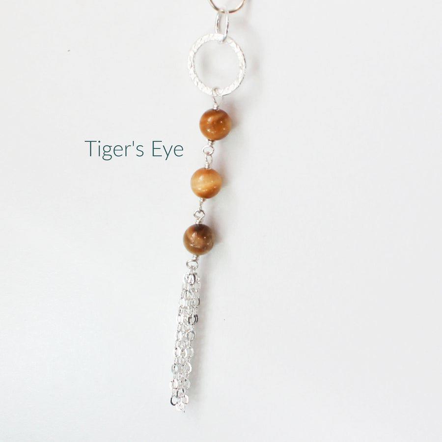 Tiger's Eye Long Necklace with Tassel