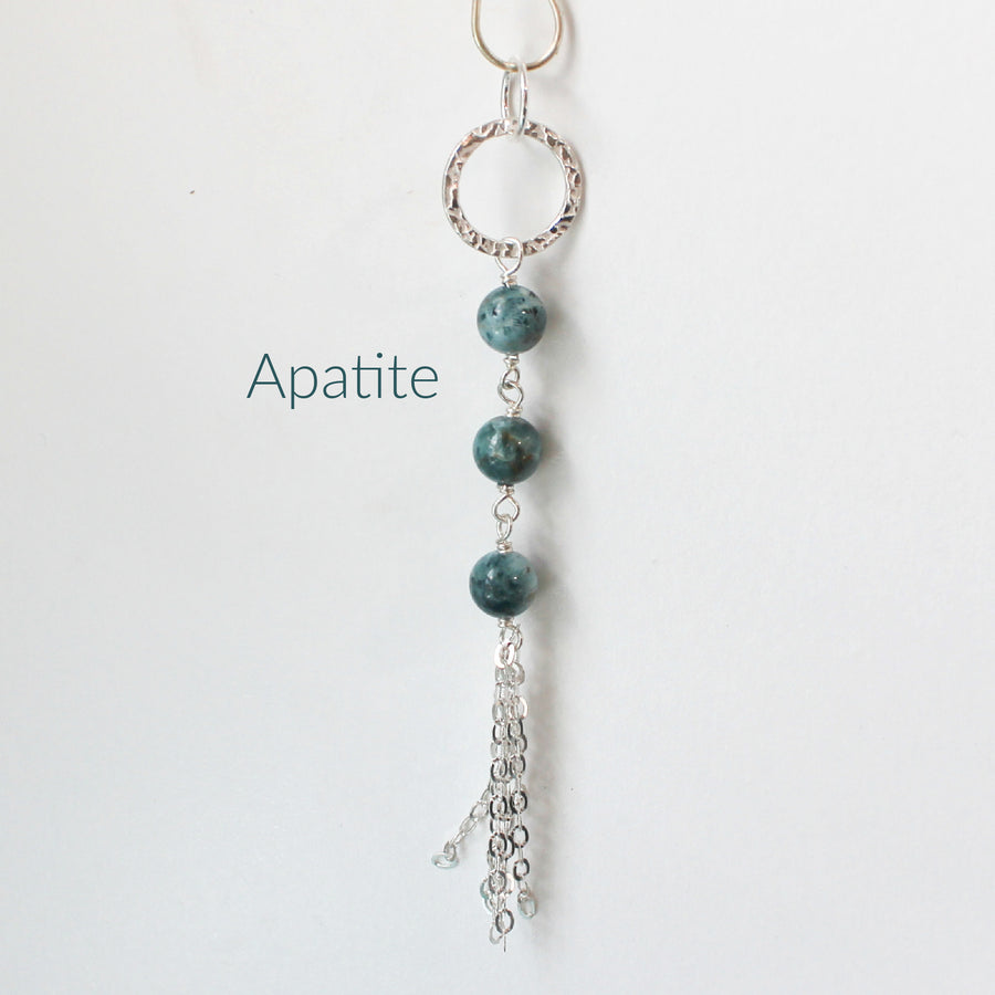 April B Signature Long Silver Tassel and Three Bead Necklace