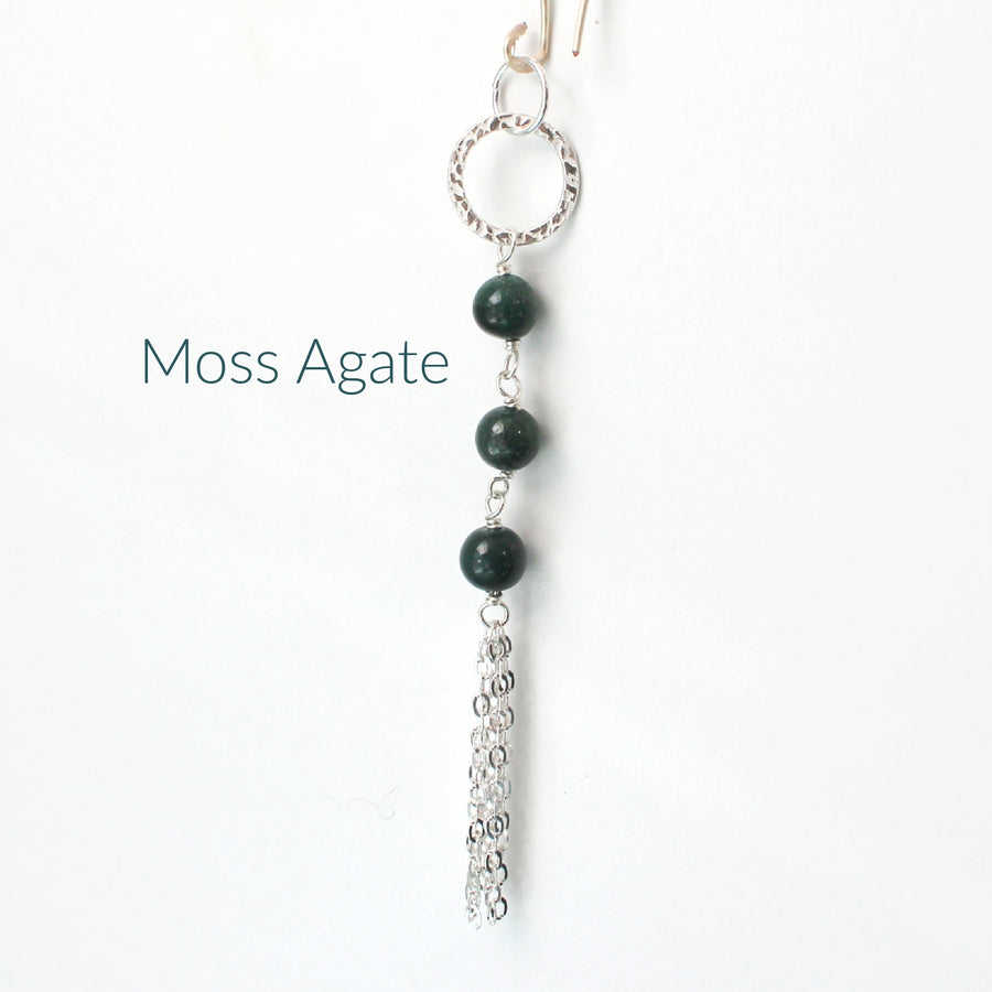 Green Moss Agate Long Necklace with Tassel