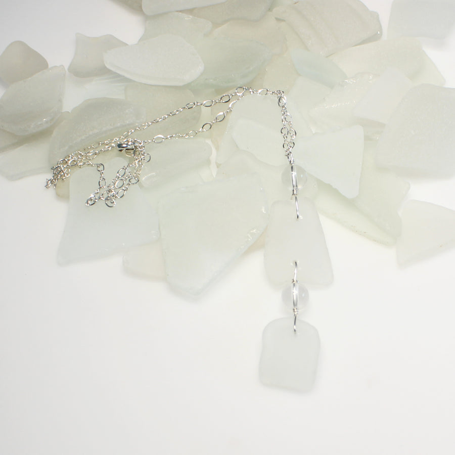 White Sea Glass and Clear Quartz Necklace