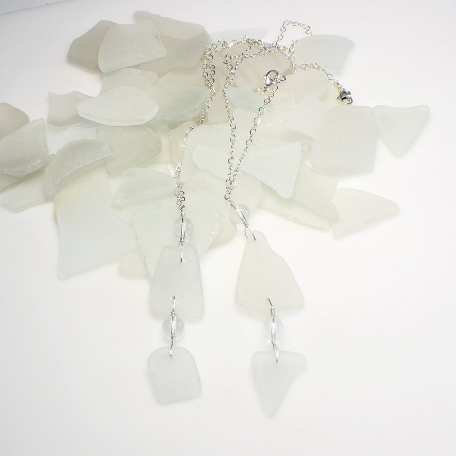 white sea glass and quartz necklace