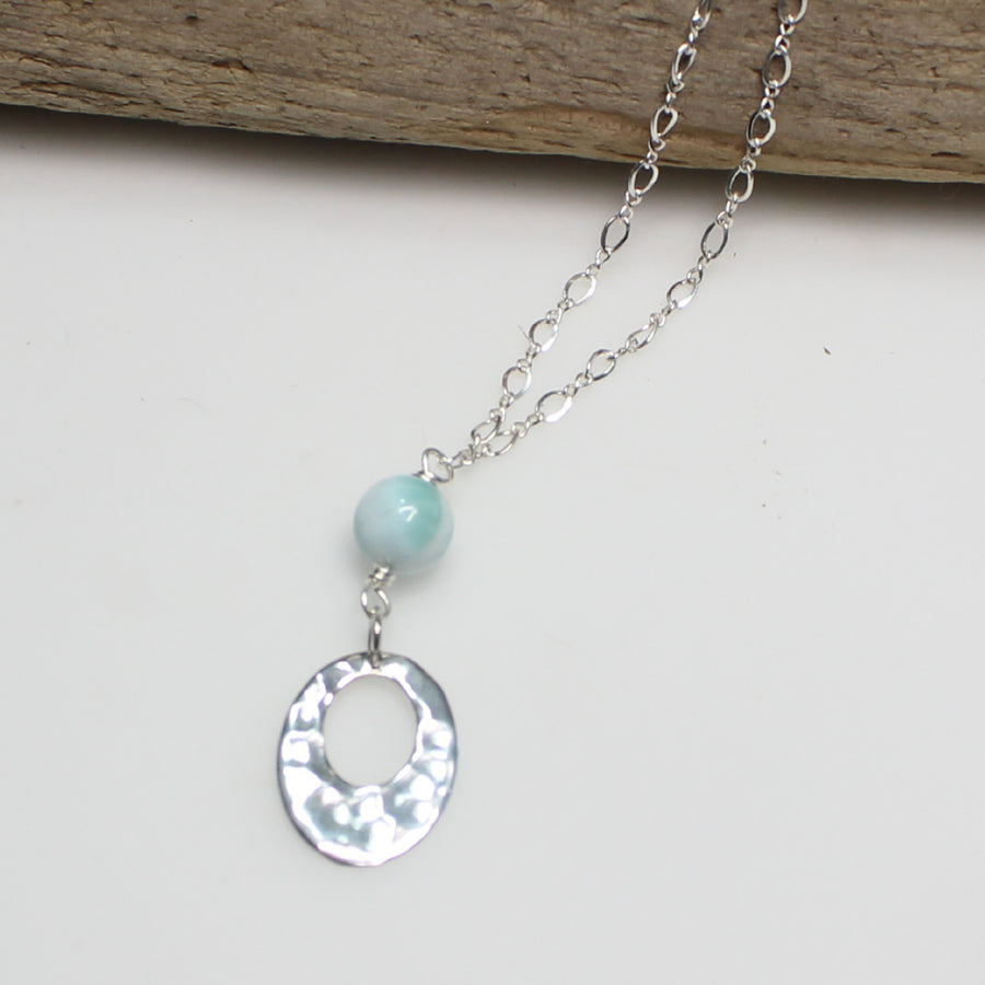 Larimar Necklace with Hammered Silver
