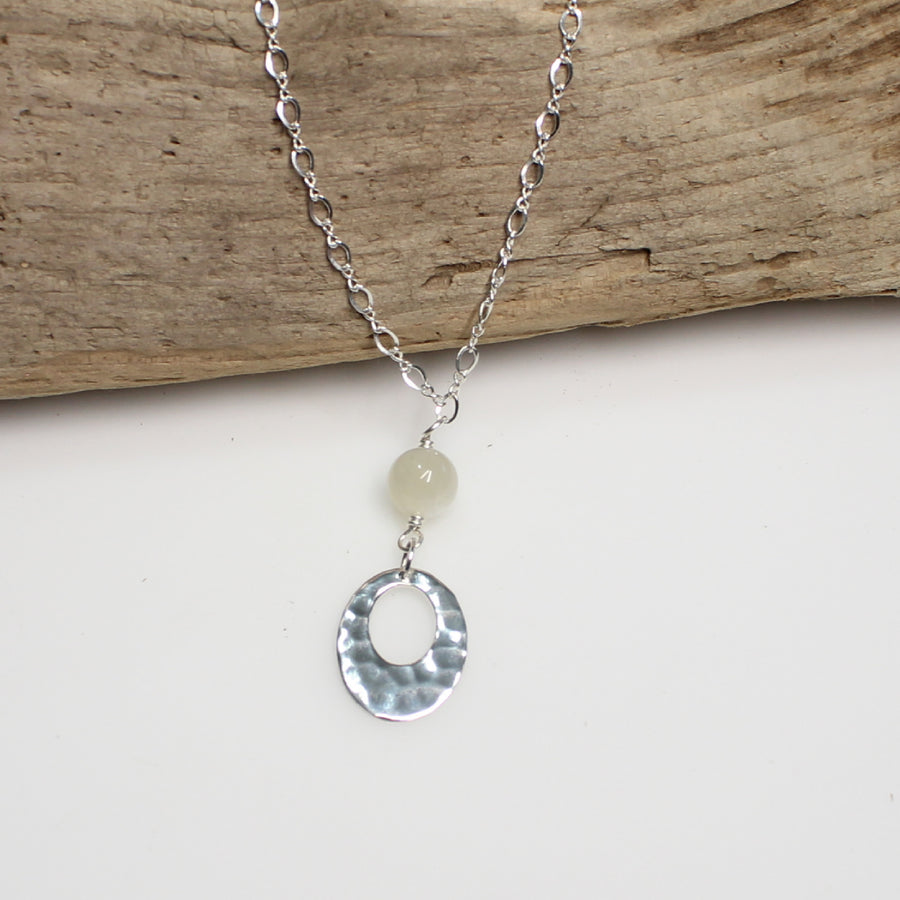 Hammered Silver and Moonstone Necklace