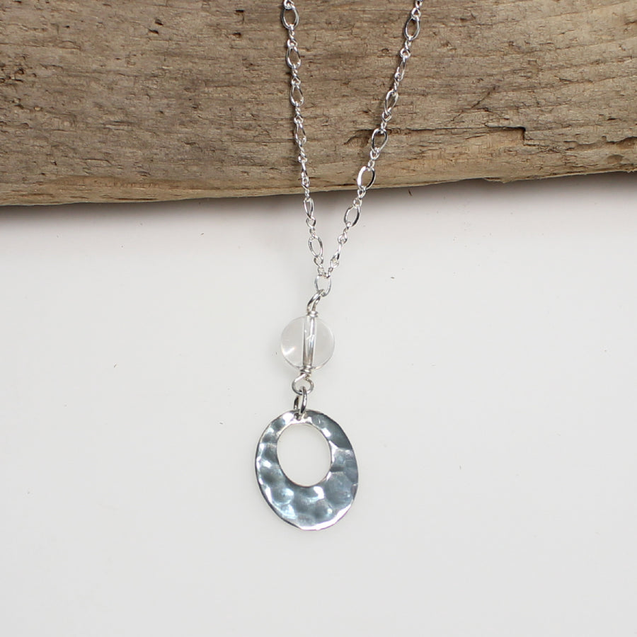 Hammered Silver and Crystal Necklace