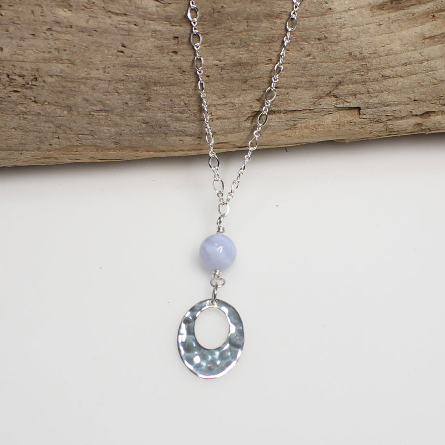Blue Lace Agate and Hammered Silver Necklace