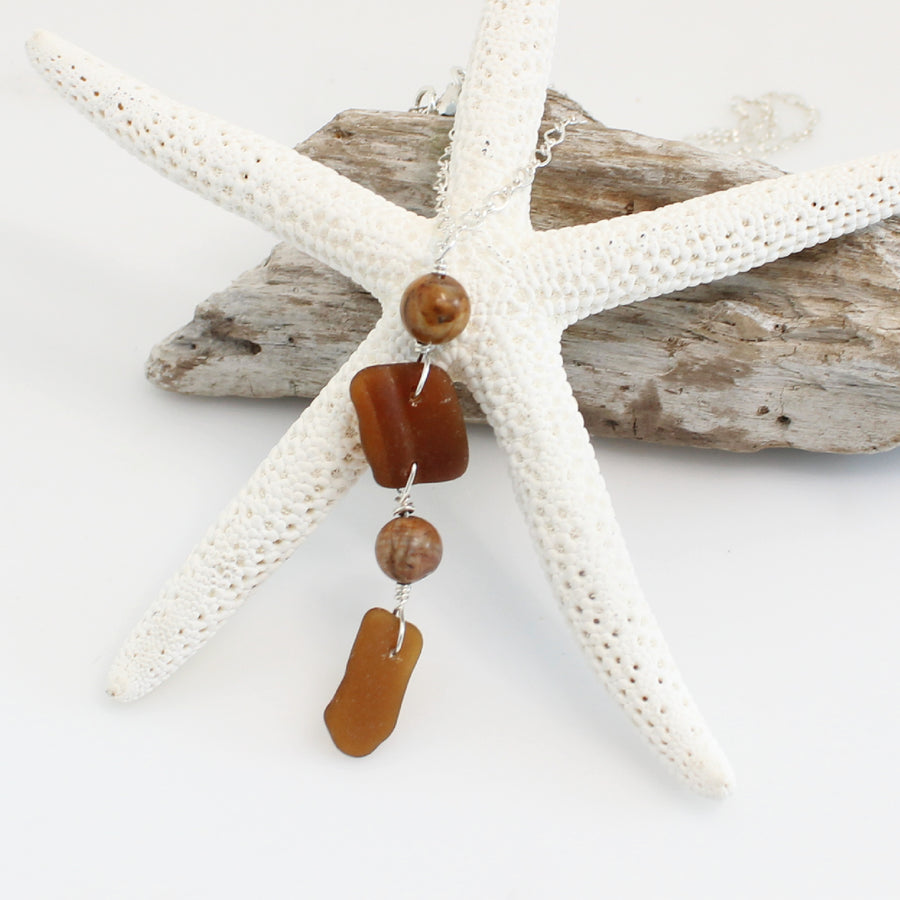 amber sea glass  necklace