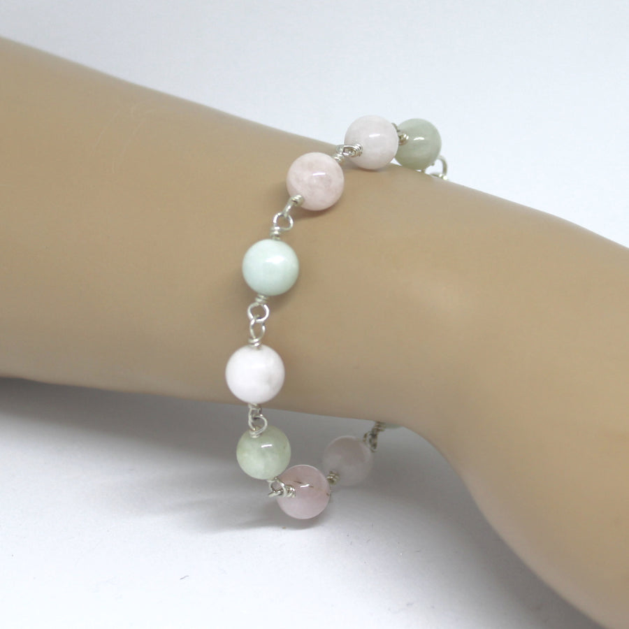 Morganite Mixed Beryl Bracelet - I am Connected to the Divine