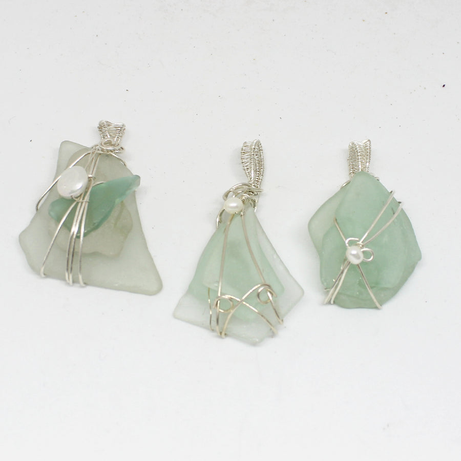 Authentic Sea Glass Pendants in Pale Colors