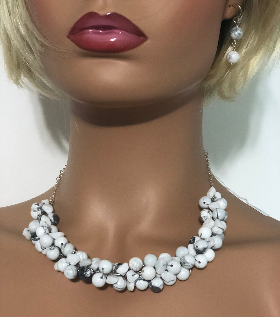 Howlite Bead Collar Necklace and Earring Set - NEC-HO-1 - April B Collection